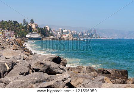Vina del Mar Chile - December 3 2012: View on the Pacific Ocean coastline of Vina del Mar Valparaiso Region in Chile.