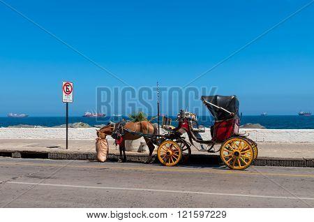 Vina del Mar Chile - December 3 2012: A tourist transport through the city. Vina de Mar Chile.