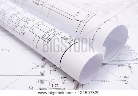 Rolls Of Electrical Diagrams On Construction Drawing