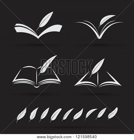 Vector Image Of An Book And Feather On Black Background