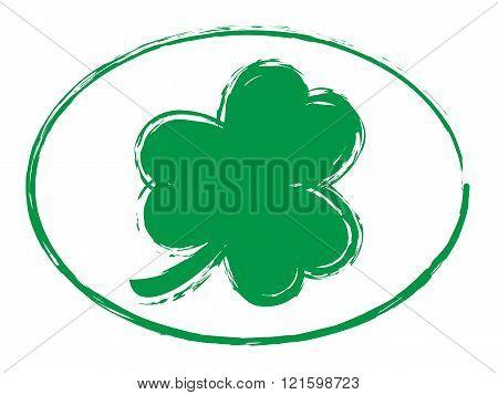 Green Shamrock Grunge Stamp Style Symbol Icon, St Patricks Day 1