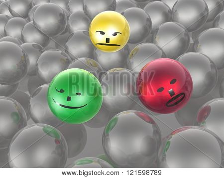 Color And Grey Spheres