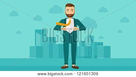 Businessman taking off jacket.
