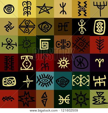 Tribal ethnic symbols and motifs,  colorful background