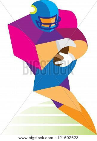 Young man is American football player in attack