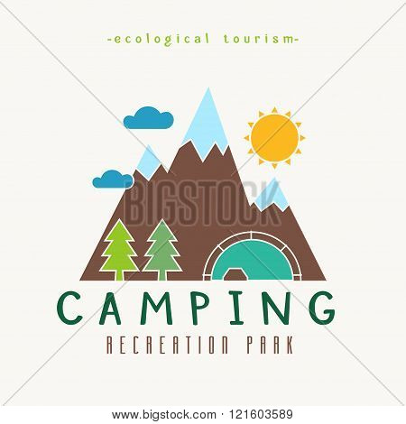 Camping Recreation Park Simple Label