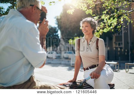 Attractive senior woman posing for a picture