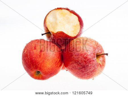 one red apple biten off with isolated background
