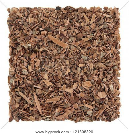 Witch hazel bark herb used in alternative herbal medicine over white background. Natural remedy for psoriasis and eczema.  poster