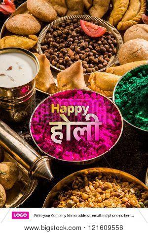 happy holi greeting card, holi food and colours