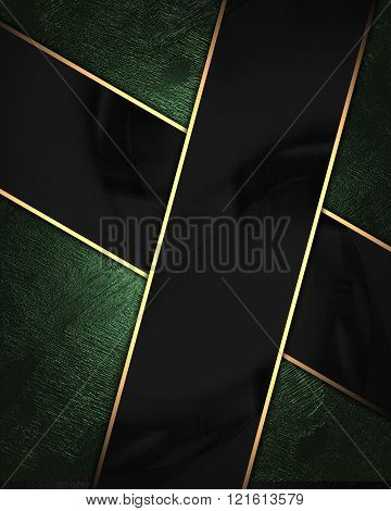 Green Velvet Background With Black Plate. Element For Design. Template For Design. Copy Space For Ad