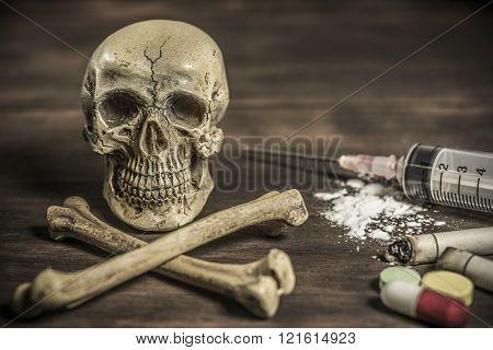 Human Skull And Crossbones Drug Addict Concept