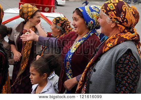 Kov-Ata Turkmenistan - October 18: Portrait of unidentified Asian women in a headscarf. Kov-Ata Turkmenistan - October 18. 2015.