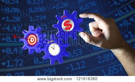 Three Cogs With Project Management Components.