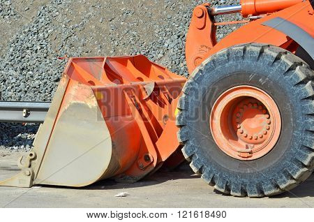 Bulldozer On Road Construction Site
