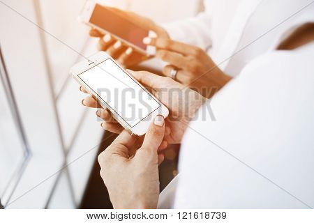 Female is watching video in network via cell telephone
