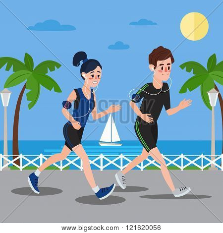 Man And Woman With Headphones Running On The Seaside Promenade