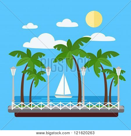 Seaside Promenade With Palm Trees And Yacht