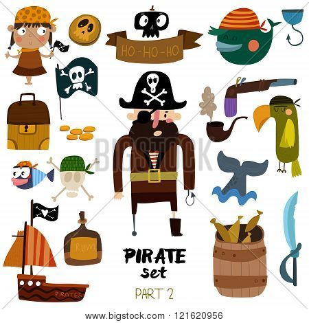 Vector Set Of Pirate Items: Pirate, Ship, Skull, Parrot, Whale, Fish, Rum And Pipe. Colorful Cartoon