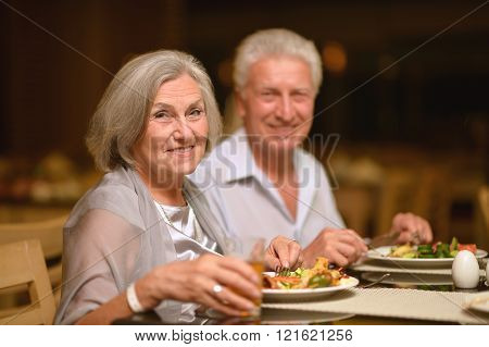 Mature couple at restaurant
