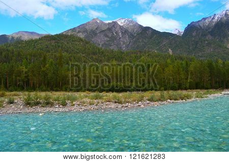 Cold mountain river Shumak. Located in the Eastern Sayan mountains