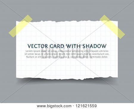 Paper card with scotch tape pieces and shadow