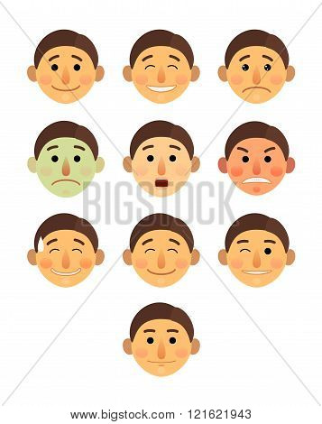 boy or man different face emotions collection cartoon flat - Emoji emoticon icon vector illustration