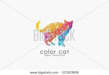 Cat logo. Color cat logo. Creative logo design. Animal logo.