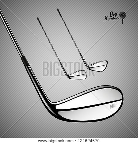 Golf  Sticks On The Gray Background As Vector Design Elements