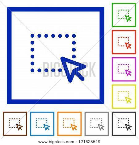 Drag Framed Flat Icons