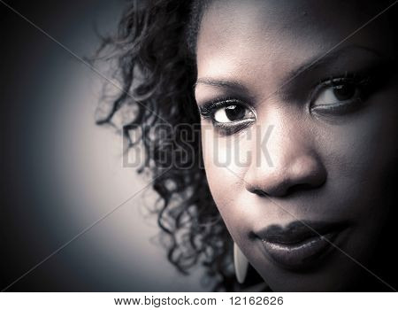 Closeup to a beautiful black woman
