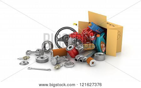 Auto parts in the cardboard boxes. Automotive basket shop. Auto parts store.