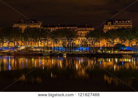Cityscape Of Lyon, France At Night