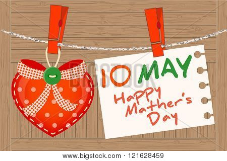 May 10Th Mother's Day. Heart Greeting.