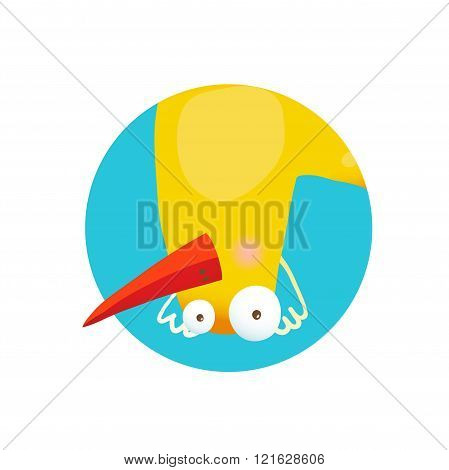 Kids Duck Upside Down Funny Icon