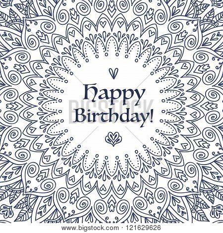 Mandala Birthday Card.
