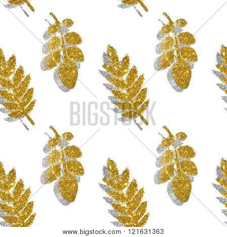 Leaves of golden and silver glitter on white background, seamless pattern