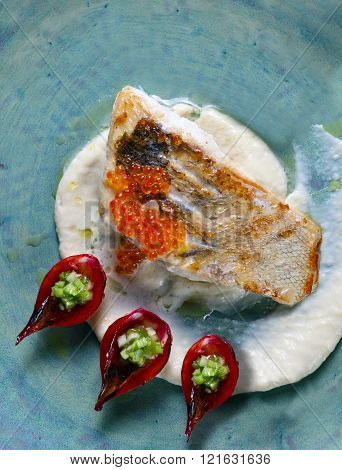 Baked Halibut With Red Caviar