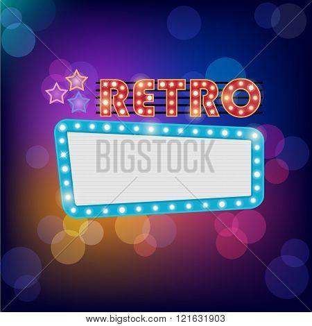 vector neon shining bigboard in retro style
