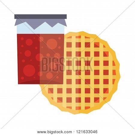 Jar of jam and fruit pie cartoon flat vector illustration. Fruity jam. Natural fruit jam preserves jar. Lattice topped apricot tart. Homemade cherry jam. Tart cake. Jam sweet fruit jelly.