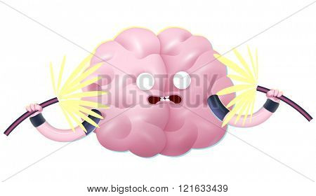Shocked brain holding two sparking electrical cables cartoon illustration - train your brain series. Part of the Brain collection.