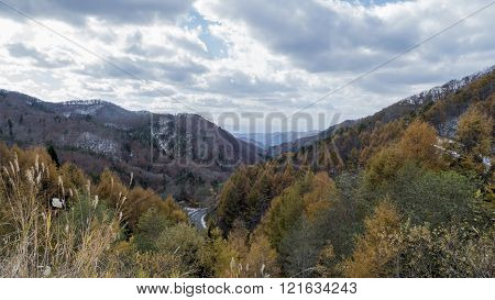 Fudo Stream And The Red Bridge At Mount Nakano-momiji
