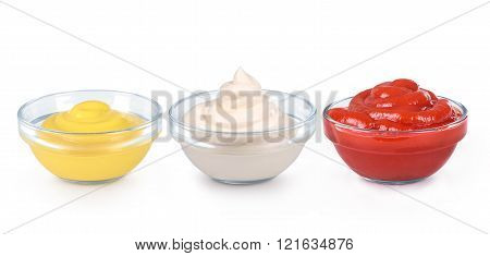 Ketchup, Mustard And Mayonnaise In Glass Bowls