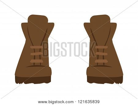 Gray boots cartoon vector illustration. Vector cartoon army boots. Gray warm shoes footwear. Boots fashion shoe. Boots sport shoes.