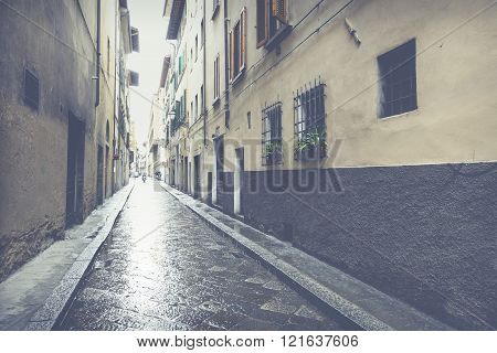 Beautiful Narrow Street In Florence, Italy