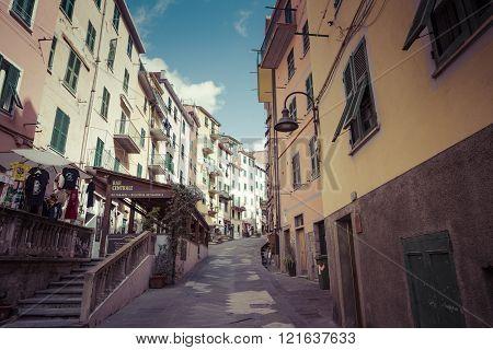 Riomaggiore, Italy - 05 March, 2016 :people Walking On The Street Of Riomaggiore Village In Italy. R