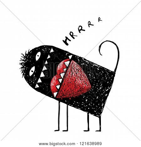 Comic angry monster eating red heart in love