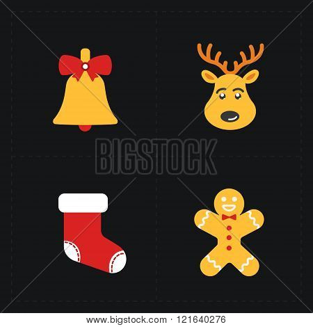 Christmas flat golden icons