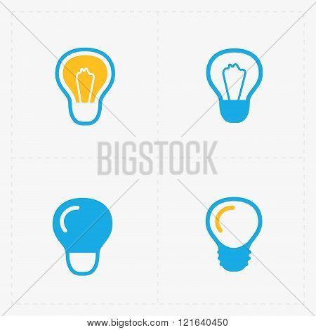 Colorful Light bulbs. Bulb icon set.