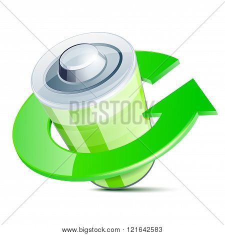 Glossy Battery Icon With Recycle Arrow Symbol